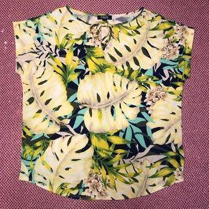 Chaps Tropical Palm Print Shirt Top Medium